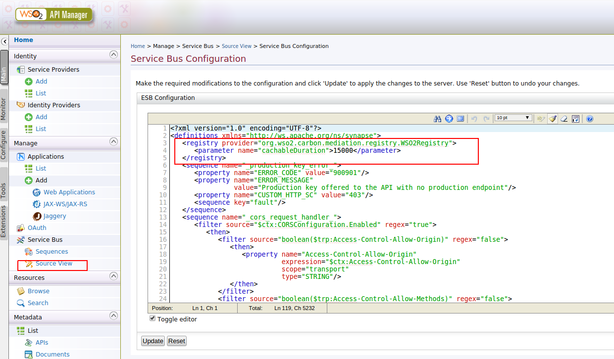 Screen shot of service bus source view with the registry configuration highlighted