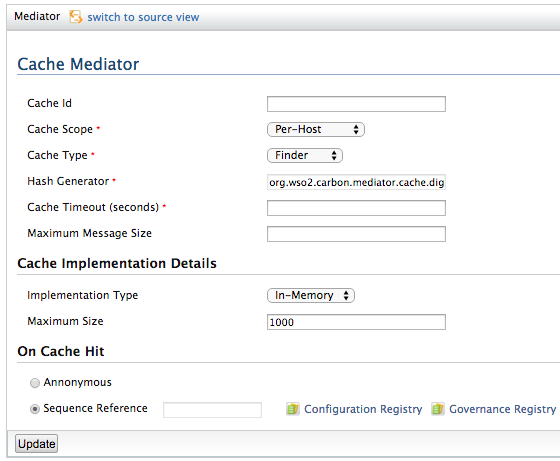 cache mediator properties