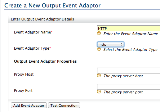 create HTTP output event adaptor