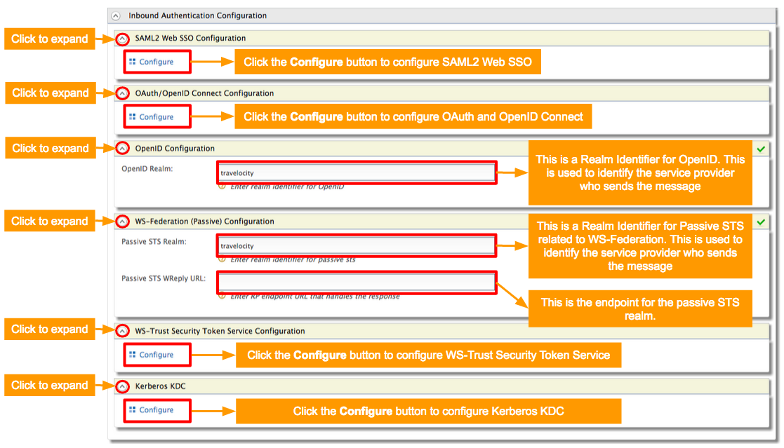 Configuring Inbound Authentication for a Service Provider