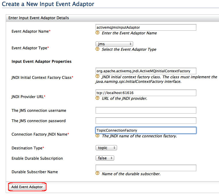 Input ActiveMQ JMS Event Adapter - Shared Content - WSO2
