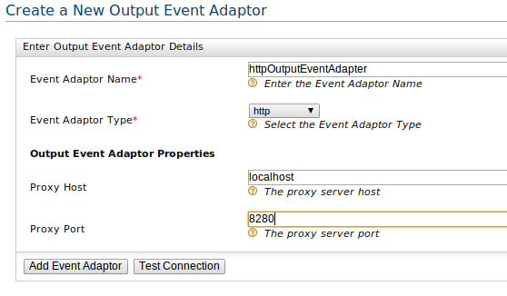 create output HTTP event adapter