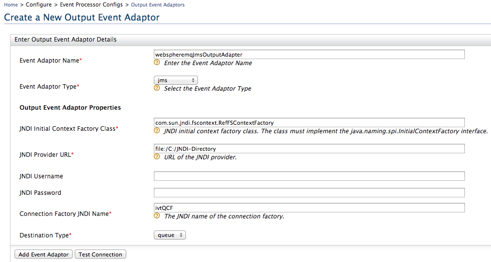 create new WebSphere MQ JMS output event adapter