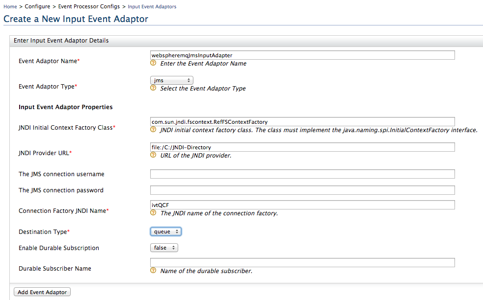 Input IBM WebSphere MQ JMS Event Adapter - Business Activity Monitor