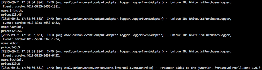 output logs in the CLI