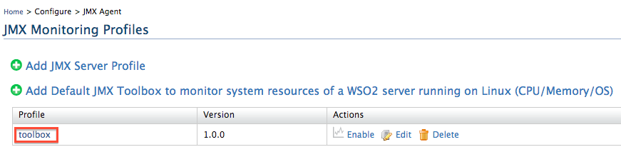 default profile to monitor WSO2 DAS by itself