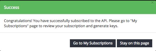 goto my subscriptions pop up message