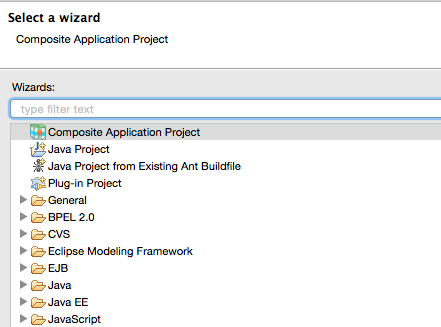 New Project wizard screen with Composite Application Project selected