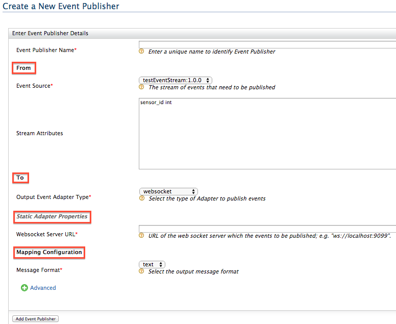 event publisher configuration in the UI