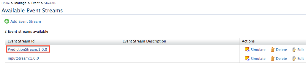 output stream in event streams list