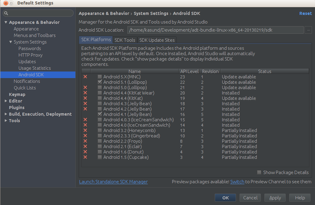 how to change target api android studio