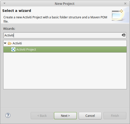 Creating a bpmn process using developer studio business process open eclipse and go to filenewother and search for the activiti project wizard to create a new activiti project ccuart Gallery