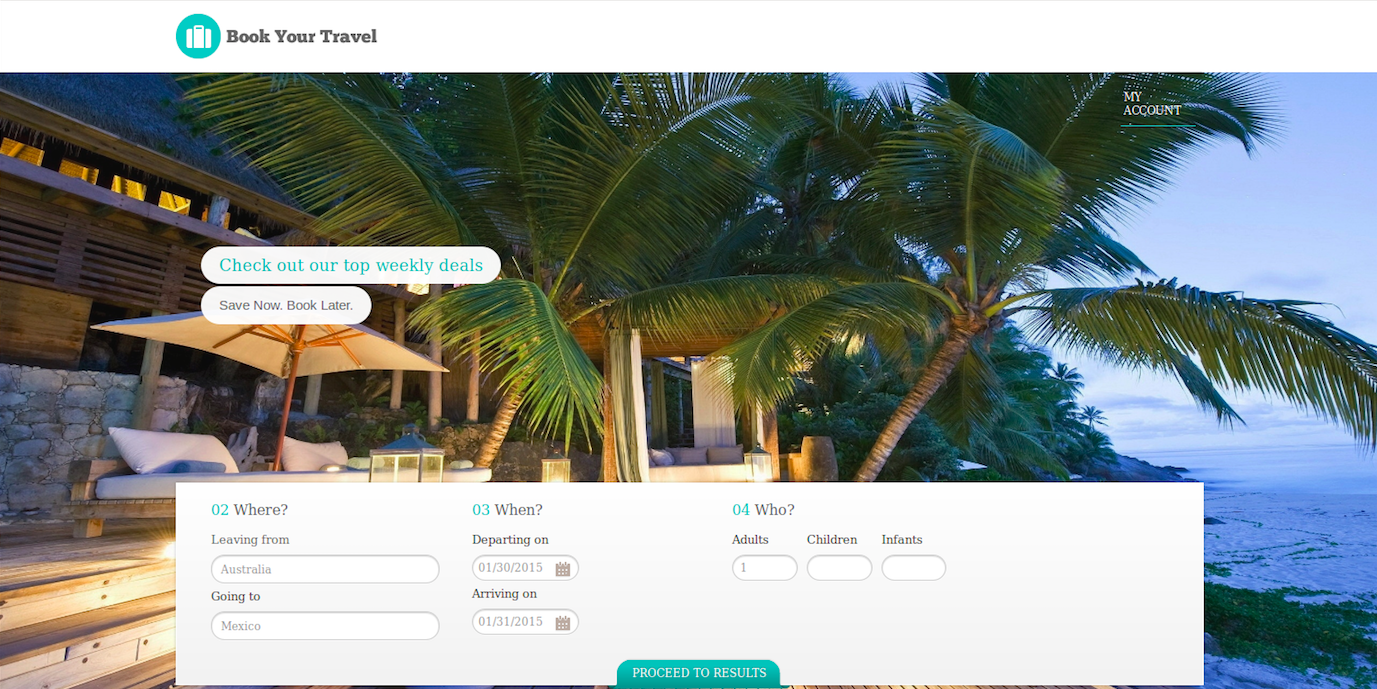 travel booking app home page
