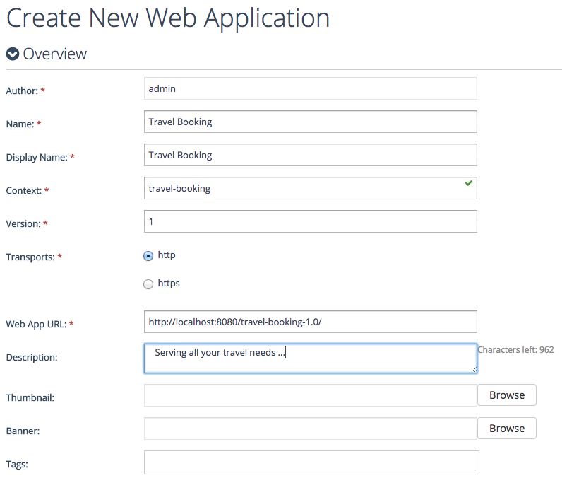 create new Web app