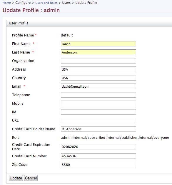 update admin user profile