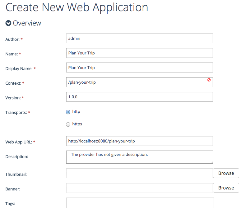 create Web app - Overview