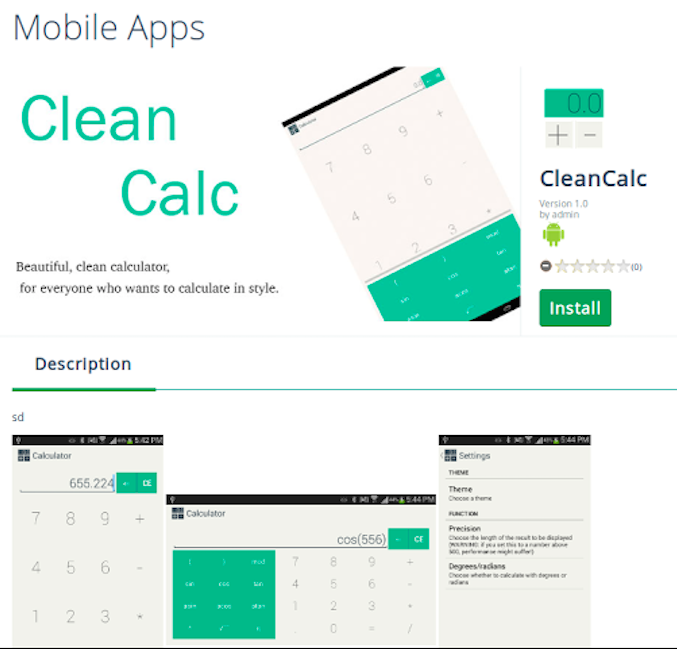 CleanCalc app on APPM store