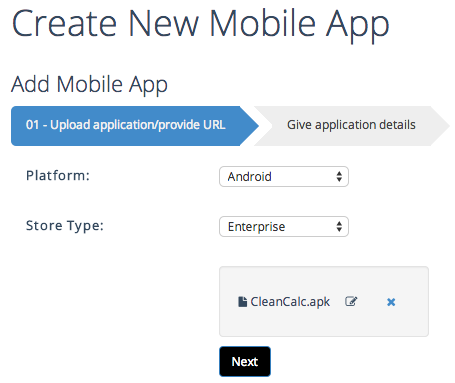 create new mobile app