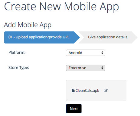 create new Android enterprise app