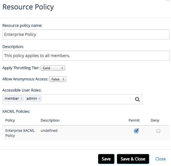 defining a new resource policy