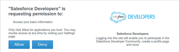 allow Salesforce to access your basic info