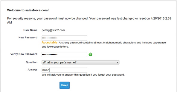 changing the password in Salesforce