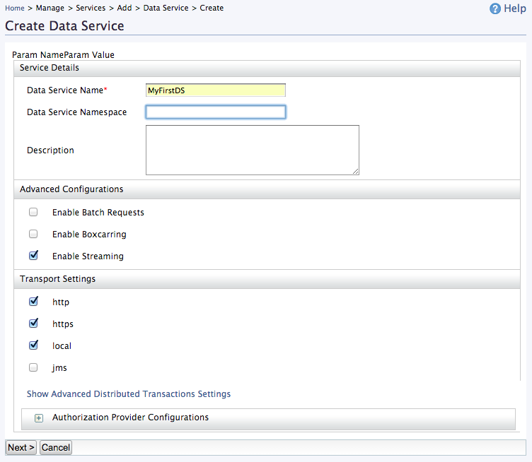 Create New Data Service