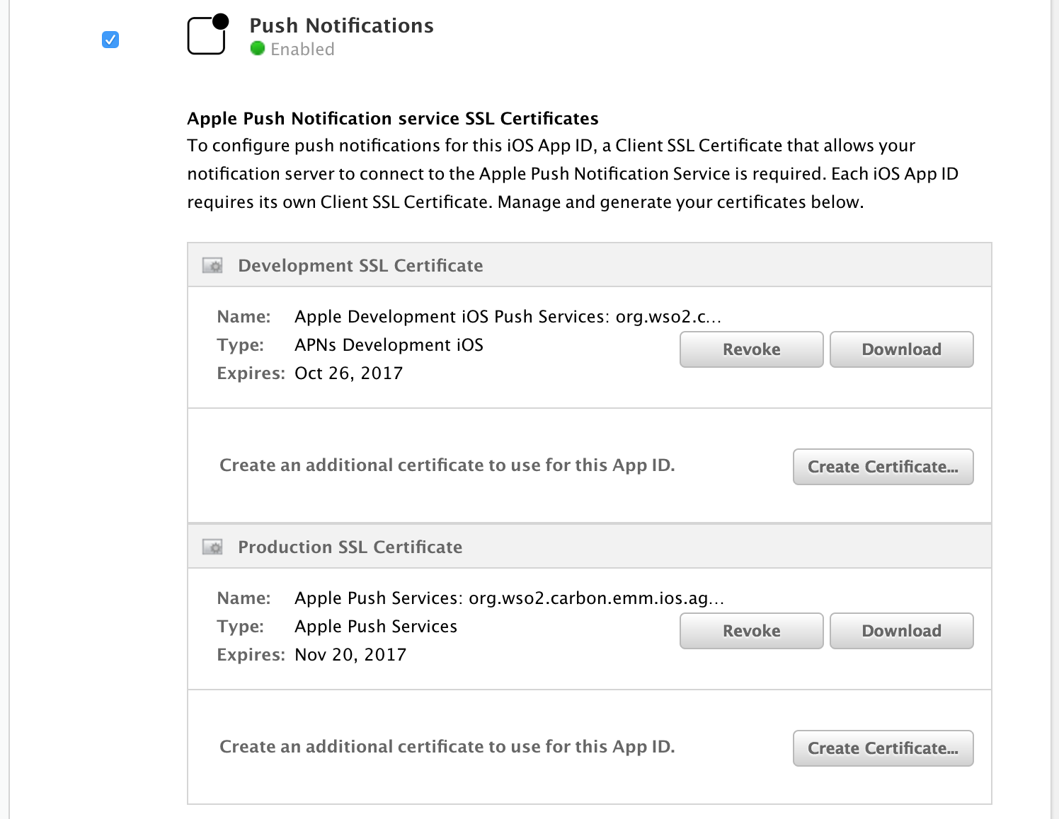 Generating an apns certificate iot server 310 wso2 documentation once push notification is enabled you are able to generate the development and production certificates 1betcityfo Images