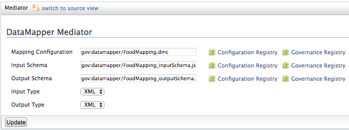 Ui configuration of the Data Mapper mediator
