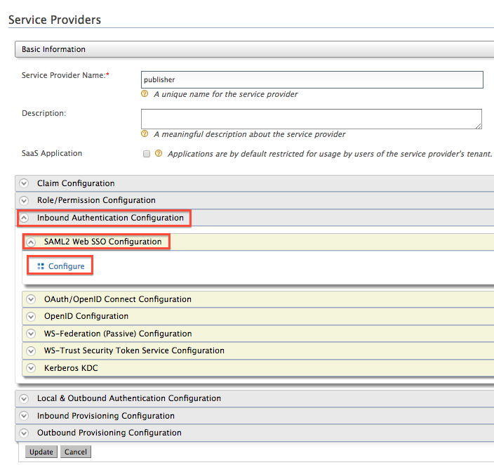 select SSO configuration
