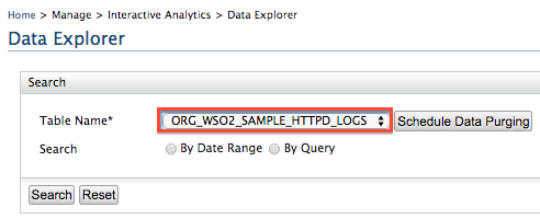 select table in the Data Explorer