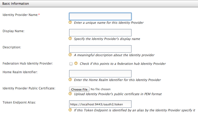 Adding an Identity Provider - Basic Information
