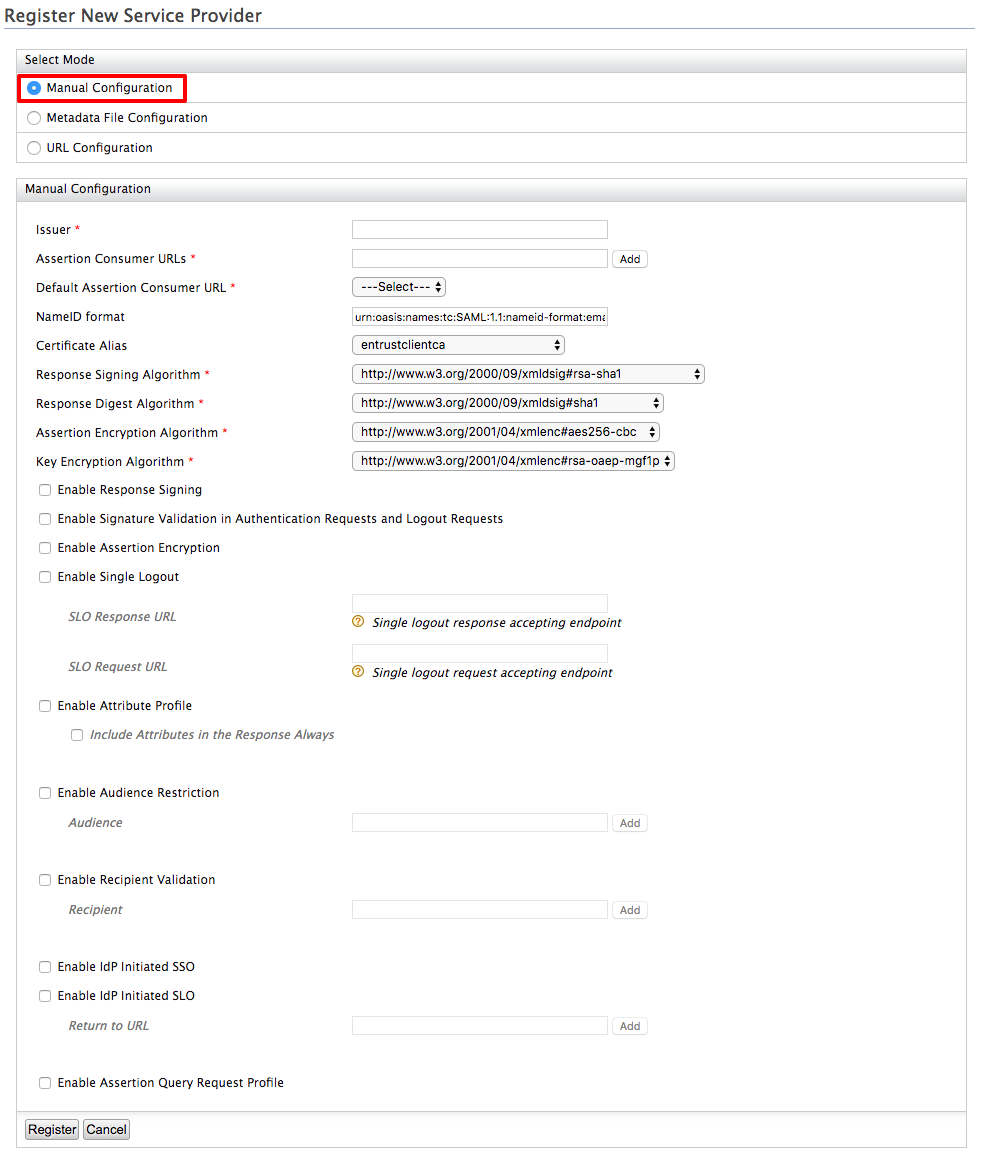 Configuring Inbound Authentication for a Service Provider - Identity