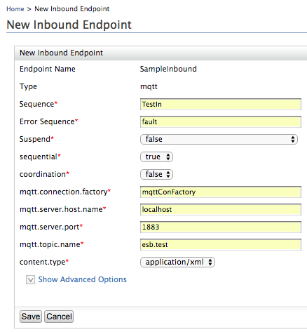 inbound endpoint of Mosquitto method