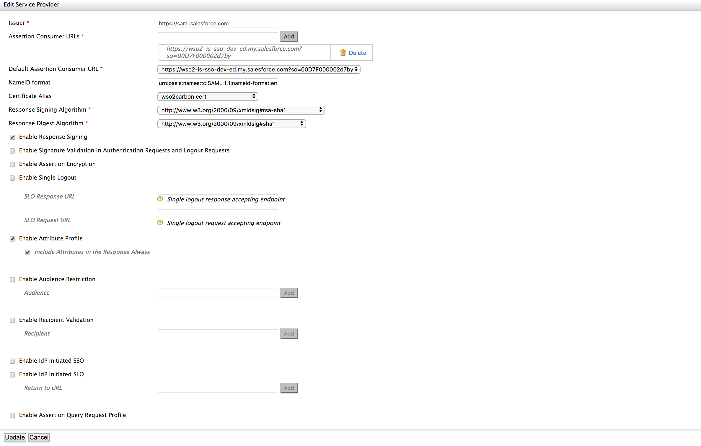 Logging in to Salesforce using the Identity Server