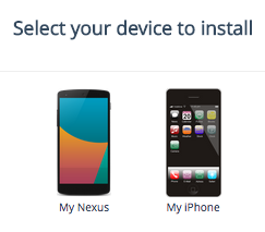 select mobile device to install the app