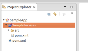 Project explorer showing Sample Services ESB Config project